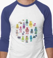 Robots in Space - grey - fun Robot pattern by Cecca Designs Men's Baseball ¾ T-Shirt
