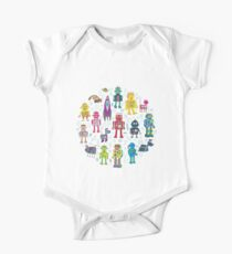 Robots in Space - grey - fun Robot pattern by Cecca Designs Kids Clothes