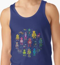 Robots in Space - grey - fun Robot pattern by Cecca Designs Tank Top