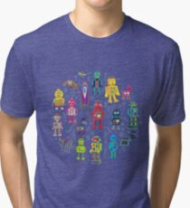 Robots in Space - grey - fun Robot pattern by Cecca Designs Tri-blend T-Shirt