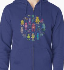 Robots in Space - grey - fun Robot pattern by Cecca Designs Zipped Hoodie
