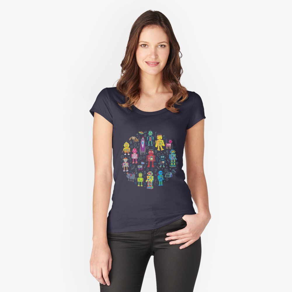 Robots in Space - grey - fun Robot pattern by Cecca Designs Fitted Scoop T-Shirt