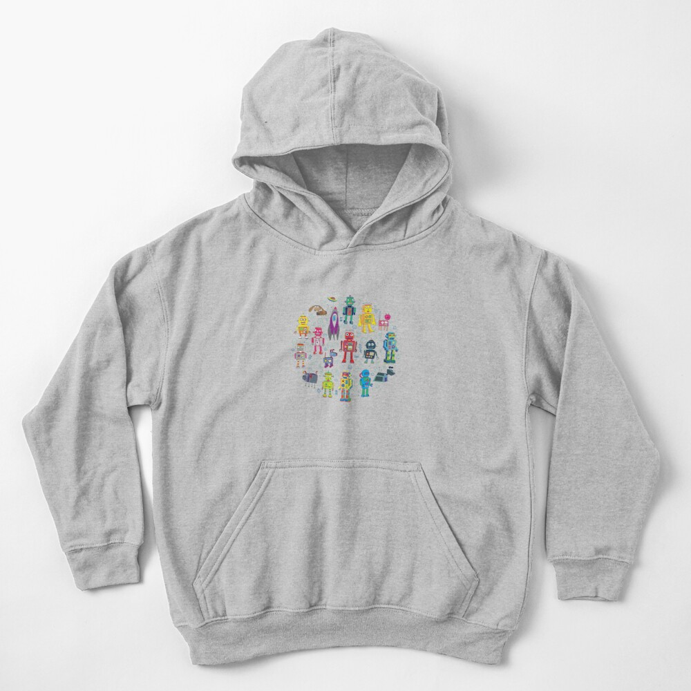 Robots in Space - grey - fun Robot pattern by Cecca Designs Kids Pullover Hoodie