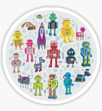 Robots in Space - grey Sticker