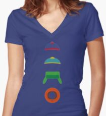 Minimalist cool south park design Women's Fitted V-Neck T-Shirt