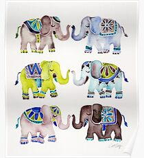 Elephant Collection – Cool Palette Poster