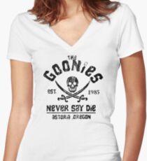 The Goonies - Naver Say Die - Black on White Women's Fitted V-Neck T-Shirt