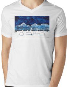 Winter swans under a beautiful starry night Mens V-Neck T-Shirt