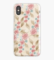 Drawn Retro Floral Pattern iPhone Case