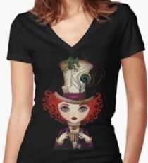 Lady Hatter Women's Fitted V-Neck T-Shirt
