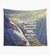When my Heart is Overwhelmed Bible Verse Wall Tapestry