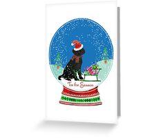Cute Black Lab Christmas Snow Globe  Greeting Card
