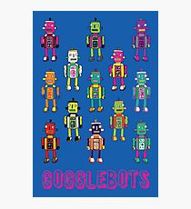 GoggleBots - robot pattern on Blue Photographic Print