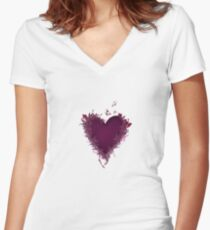 Butterfly Heart  Women's Fitted V-Neck T-Shirt