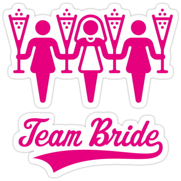 quotteam bride bachelorette party pinkquot stickers by