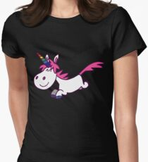 Galloping Cartoon Unicorn by Cheerful Madness!! Women's Fitted T-Shirt