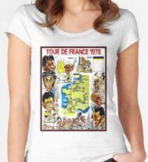 TOUR DE FRANCE; Vintage Bicycle Race Advertising Print Women's Fitted Scoop T-Shirt