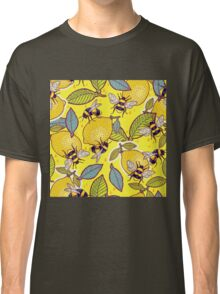Yellow lemon and bee garden. Classic T-Shirt