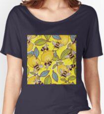 Yellow lemon and bee garden. Women's Relaxed Fit T-Shirt
