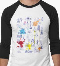 History of Art (blue artlines, w/ paint splashes) Men's Baseball ¾ T-Shirt