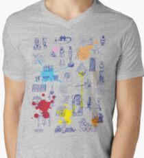 History of Art (blue artlines, w/ paint splashes) Men's V-Neck T-Shirt
