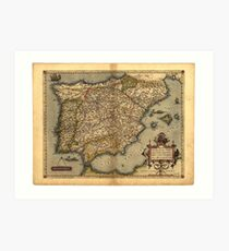 Antique Map of Spain, by Abraham Ortelius, circa 1570 Art Print