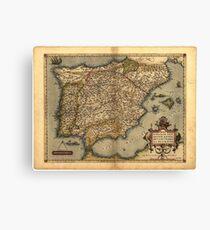 Antique Map of Spain, by Abraham Ortelius, circa 1570 Canvas Print