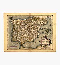 Antique Map of Spain, by Abraham Ortelius, circa 1570 Photographic Print