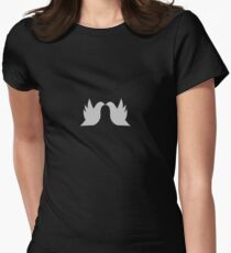 Love Doves Grey Women's Fitted T-Shirt
