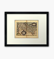 Antique Map of Portugal, by Abraham Ortelius, circa 1570 Framed Print