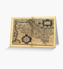 Antique Map of Portugal, by Abraham Ortelius, circa 1570 Greeting Card