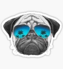Pug Dog with sunglasses Sticker