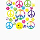 Hippie Peace signs n Smiley faces  by thatstickerguy