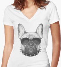 French Bulldog with collar and sunglasses Women's Fitted V-Neck T-Shirt