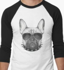 French Bulldog with collar and sunglasses Men's Baseball ¾ T-Shirt