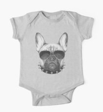 French Bulldog with collar and sunglasses One Piece - Short Sleeve
