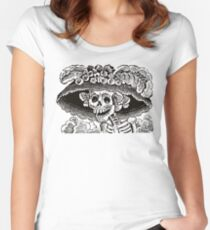 Calavera Catrina | Black and White | Day of the Dead | Dia de los Muertos Women's Fitted Scoop T-Shirt