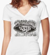 Calavera Catrina | Black and White | Day of the Dead | Dia de los Muertos Women's Fitted V-Neck T-Shirt