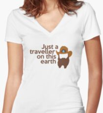 Just a traveller Women's Fitted V-Neck T-Shirt