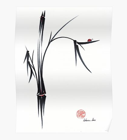 """""""Gentle Soul"""" Chinese japanese ink brush pen painting Poster"""