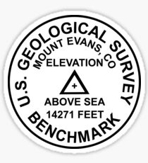 Mount Evans, Colorado USGS Style Benchmark Sticker