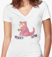 Pokemon Slowpoke Women's Fitted V-Neck T-Shirt