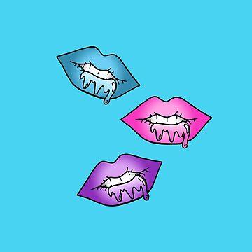 Lips  - Purple, Pink, Blue by phronemophobe