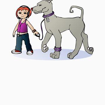 Stilysh girl with her dog by elenab