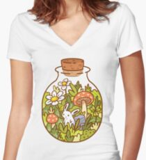 Bunny in a Bottle Women's Fitted V-Neck T-Shirt