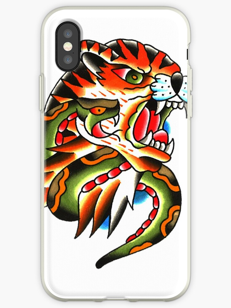 Traditional Tiger Head And Snake Tattoo Design Iphone Cases