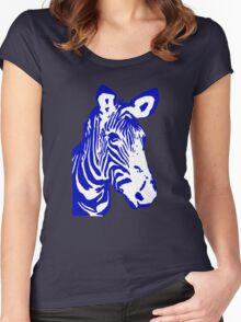 Zebra - Pop Art Graphic T-Shirt (blue) Women's Fitted Scoop T-Shirt
