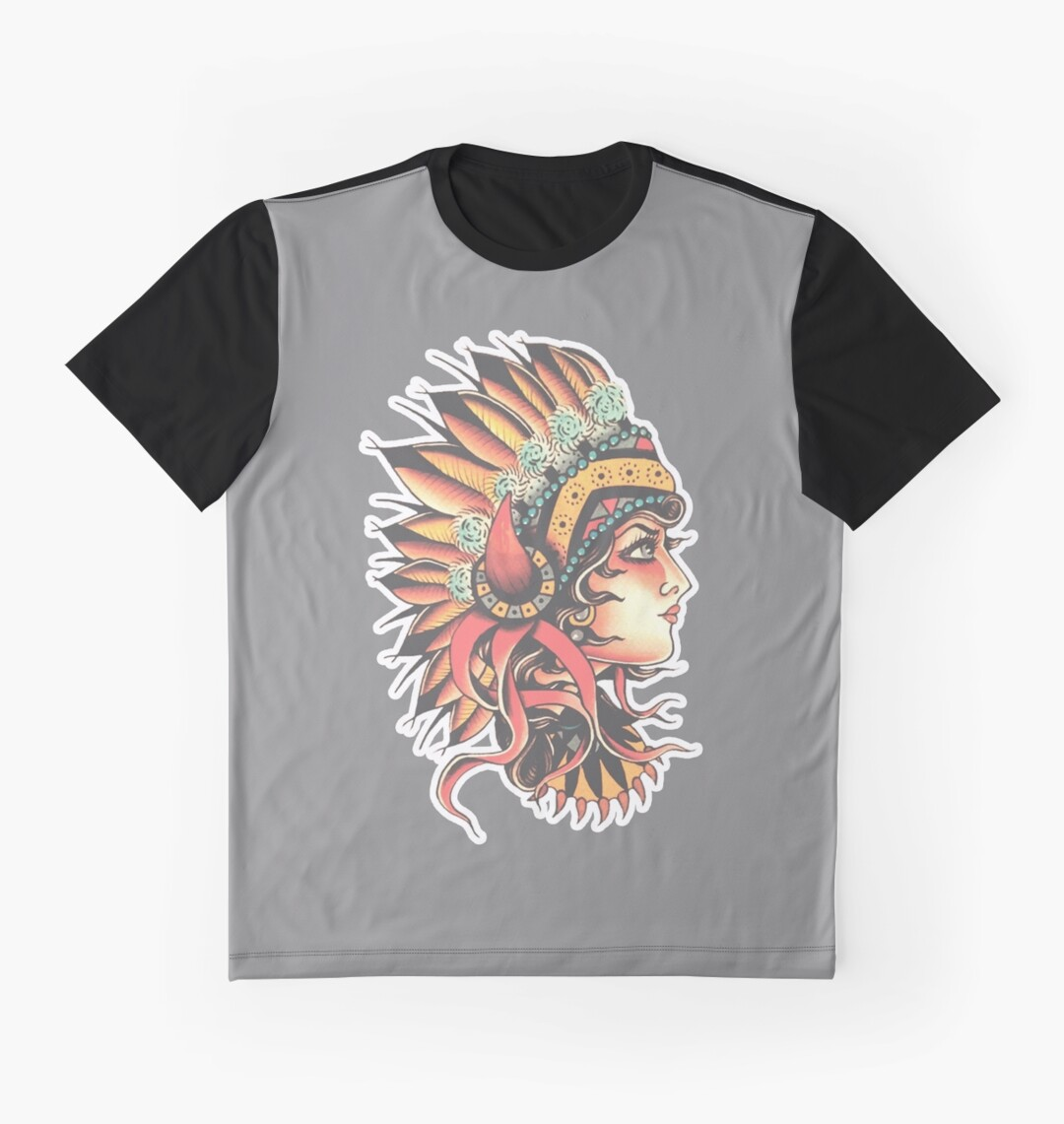 Design t shirt girl - Traditional Native American Pin Up Girl Headresstattoo Design Graphic T Shirts