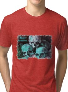 Happy Halloween Pile of Skulls After Cezanne Tri-blend T-Shirt