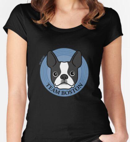 Team Boston - Terrier Puppy Dog  Women's Fitted Scoop T-Shirt